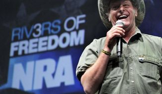 "In this May 1, 2011 file phot, musician and gun rights activist Ted Nugent addresses a seminar at the National Rifle Association's 140th convention in Pittsburgh. ""Know it, Donald Trump is the hellraiser America has needed for a very longtime,"" rocker Ted Nugent wrote on his Facebook page. (AP Photo/Gene J. Puskar)"