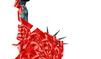 Illustration on increasing government regulation by Alexander Hunter/The Washington Times