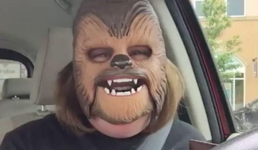 Candace Payne wearing a Chewbacca mask. (Image: Facebook)