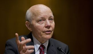 FILE - In this Feb. 10, 2016 file photo, Internal Revenue Service (IRS) Commissioner John Koskinen testifies on Capitol Hill in Washington. The IRS says the agency's commissioner won't appear at a House Judiciary Committee hearing Tuesday, May 24, 2106,  examining whether he deserves to be impeached. (AP Photo/Manuel Balce Ceneta, File)
