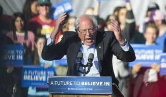 Sen. Bernie Sanders, Vermont independent and Democratic presidential candidate, speaks to a crowd at Irvine Meadow Amphitheater in Irvine, Calif., on May 22, 2016. (Cindy Yamanaka/The Orange County Register via AP)