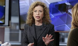 Democratic National Committee Chairwoman, Rep Debbie Wasserman Schultz, D-Fla., is interviewed in New York. (AP Photo/Richard Drew, File)