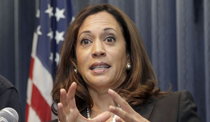 California Attorney General Kamala Harris, who leads the crowded field in the polls, has positioned herself to Rep. Loretta Sanchez's left, touting her endorsements from progressive icons such as Massachusetts Sen. Elizabeth Warren and labor organizer Dolores Huerta, as well as her targeting of the banking and oil-and-gas industries. (Associated Press)