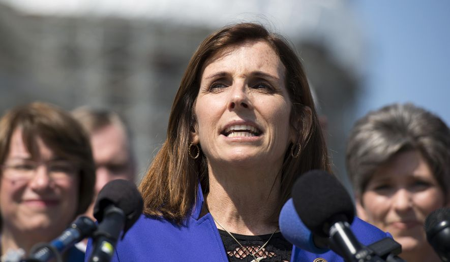 In this March 16, 2016, file photo, Rep. Martha McSally, R-Ariz. speaks on Capitol Hill in Washington. (AP Photo/Molly Riley, File)