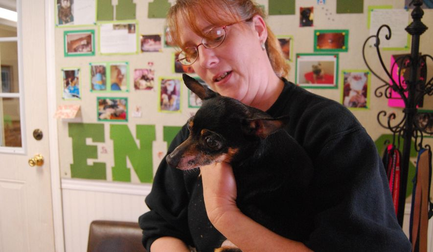 In a May 17, 2016 photo, Carol Schmidt of the Sanilac County Humane Society holds Boo Boo, in Carsonville, Mich. The Sanilac County Humane Society is using a miniature golf course at the site of its planned new $4 million new home to raise money for its efforts. The Humane Society plans to move out of a cramped facility in Carsonville to a structure it will build south of Lexington. (Bob Gross/The Times Herald via AP)