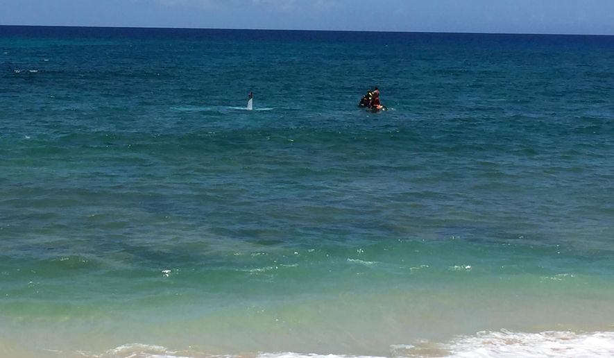 This image provided by Abe Wills shows part of a small plane sticking out of the water after it crashed off Makaha beach in Waianae, Hawaii, Monday, May 23, 2016. Two people survived with minor injuries after the plane crashed into the water close to shore off west Oahu's Makaha beach on Monday, officials said. (Abe Wills via AP)