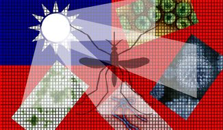 Illustration on Taiwan's efforts to fight disease by Alexander hunter/The Washington Times