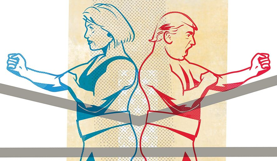 Illustration positing the possible national security actions of the presidential candidates by Linas Garsys/The Washington Times