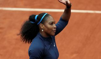 Serena Williams took just 42 minutes to win her first-round French Open match Tuesday. (Associated Press)