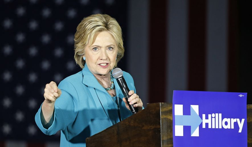 Democratic presidential candidate Hillary Clinton speaks at an International Brotherhood of Electrical Workers training center, Tuesday, May 24, 2016, in Commerce, Calif. (AP Photo/John Locher)