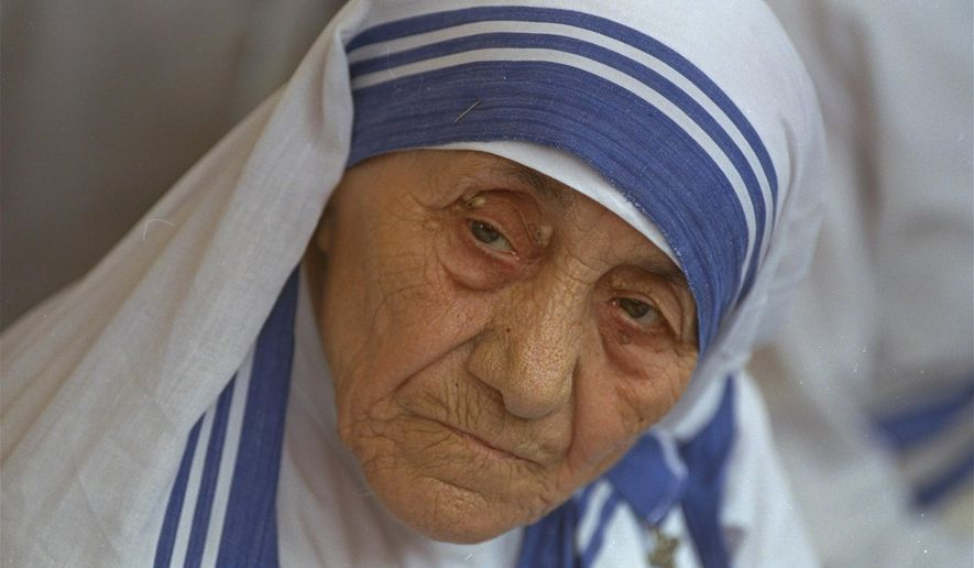 FILE - In this Aug. 25, 1993, file photo Mother Teresa, head of Missionaries of Charity, is photographed, in New Delhi, India. A collection of previously unreleased writings by Mother Teresa is coming out in August 2016, weeks before the late Nobel Peace Prize winner is to be canonized. (AP Photo/File)