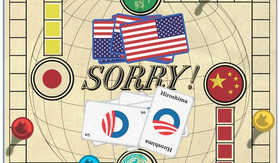 Illustration on Obama's practice of apologizing for America by Alexander Hunter/The Washington Times