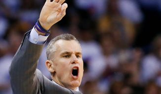 Coach Billy Donovan and his Oklahoma City Thunder have the defending champion Golden State Warriors on the brink of elimination in the Western Conference finals. (Associated Press)
