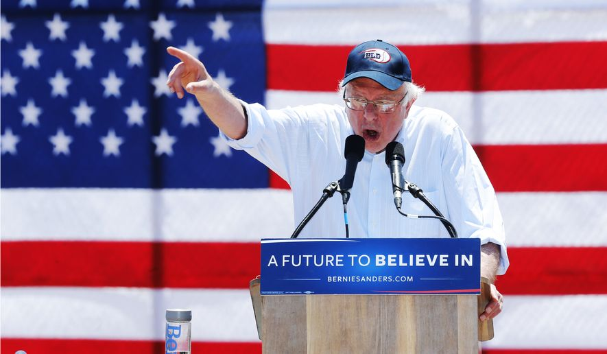 Democratic presidential candidate Sen. Bernard Sanders speaks Wednesday during a campaign rally in Cathedral City, Calif. (Associated Press)