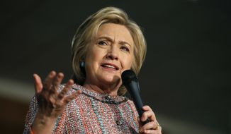 Democratic presidential candidate Hillary Clinton speaks at a United Food and Commercial Workers International Union hall, Wednesday, May 25, 2016, in Buena Park, Calif. (AP Photo/John Locher)