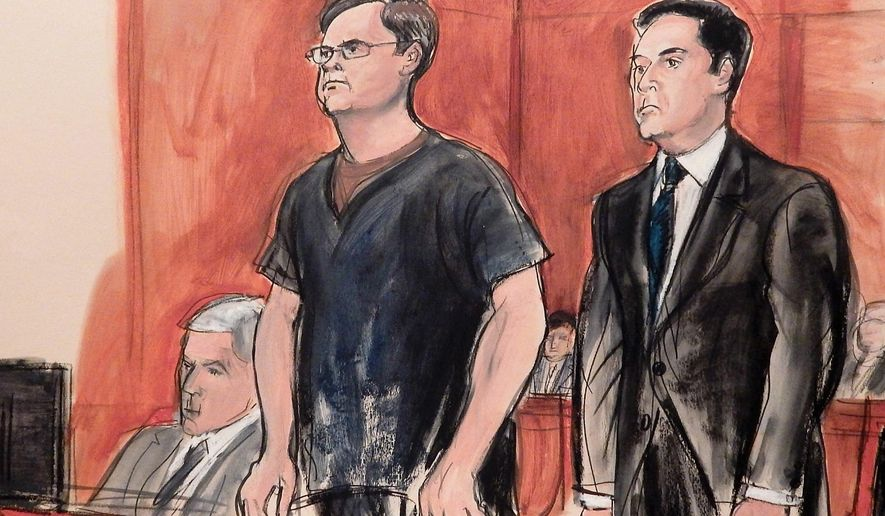 CORRECTS DAY TO WEDNESDAY INSTEAD OF TUESDAY- In this courtroom drawing, defendant Evgeny Buryakov, left, stands with his attorney Scott Hershman during sentencing on espionage charges, Wednesday, May 25, 2016 in New York. Prosecutors said he teamed up with diplomats to gather sensitive economic intelligence on potential U.S. sanctions against Russian banks and on U.S. efforts to develop alternative energy resources. Seated at the defense table is attorney Daniel Levin. (AP Photo/Elizabeth Williams)
