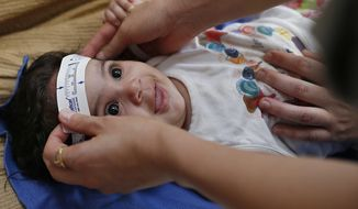 In this Wednesday, Feb. 24, 2016, file photo, 3-month-old Esther Kamilly has her head measured by Brazilian and U.S. health workers from the United States' Centers for Disease Control and Prevention (CDC) at her home in Joao Pessoa, Brazil, as part of a study on the Zika virus and the birth defect microcephaly. As the international epidemic of Zika has unfolded and led to devastating birth defects for at least 1,300 children in eight countries, an agonizing question has persisted: What is the chance that an infected pregnant woman will have a baby with these defects? (AP Photo/Andre Penner)