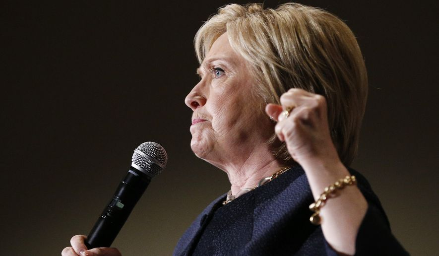 Democratic presidential candidate Hillary Clinton speaks at a rally, Thursday, May 26, 2016, in San Jose, Calif. (AP Photo/John Locher) ** FILE **