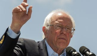 Democratic presidential candidate Sen. Bernie Sanders, I-Vt., speaks during a campaign rally at Ventura College in Ventura, Calif., Thursday, May 26, 2016. (AP Photo/Damian Dovarganes)