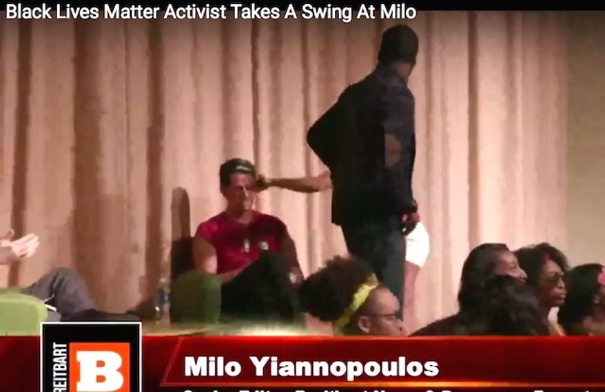 A Black Lives Matter supporter and student activist hits Milo Yiannopoulos in the face with a microphone at DePaul University. (YouTube, Breitbart News)