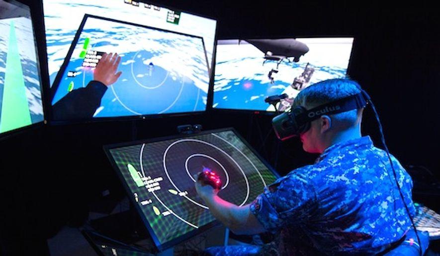 A sailor test Augmented reality (AR) technology. (U.S. Navy)
