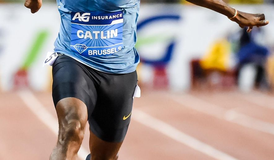 "FILE - In this Sept. 11, 2015 file photo, Justin Gatlin, from the U.S., wins the men's 100m at the Diamond League Memorial Van Damme athletics event at Brussels' King Baudouin stadium. Before a race, the mild-mannered American sprinter says he transforms himself into the feisty guy named ""J Gat,"" a nickname he's given to a version of himself that wants to take over the world from archrival Usain Bolt. (AP Photo/Geert Vanden Wijngaert, File)"