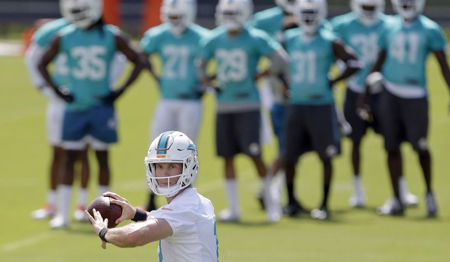 Miami Dolphins quarterback Ryan Tannehill prepares to pass during an NFL football practice Thursday, May 26, 2016, in Davie, Fla. Tannehill has a new head coach, a new offensive coordinator, an upgraded line and the same old optimism that he'll finally lead the Miami Dolphins to the playoffs. (AP Photo/Alan Diaz)