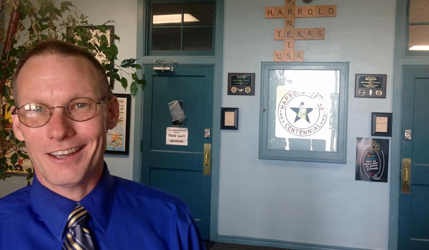 Harrold ISD Superintendent David Thweatt pauses for a photo on Thursday, May 26, 2016 in Harrold, Texas. The unlikely battleground over whether U.S. schools must provide bathroom rights to transgender students is here in Harrold: a farming town with only 100 students, a high school graduating class of four this May and not one transgender person on campus. (AP Photo/Paul J. Weber)