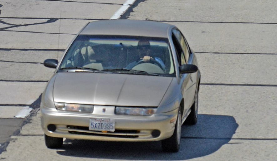 In this photo provided by the Santa Barbara County Fire Department, California Highway Patrol units pursue a car being sought in a statewide Amber Alert in the disappearance of a Northern California 15-year-old girl, as it passes through Buellton on U.S. Highway 101 in Southern California Thursday, May 26, 2016. Fernando Castro was being sought and is believed to be the driver. (AP Photo Mike Eliason/Santa Barbara County Fire Department via AP)