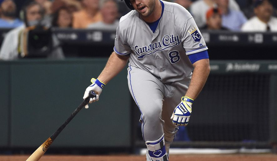 FILE - In this April 13, 2016, file photo, Kansas City Royals' Mike Moustakas reacts after flying out to end the third inning of a baseball game against the Houston Astros in Houston. The Royals have placed Moustakas on the 15-day disabled list Thursday, May 26, 2016, with a torn anterior cruciate ligament in his right knee. Such injuries usually sideline a player for a long period. (AP Photo/Eric Christian Smith, File)