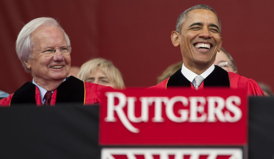 FILE - In this Sunday, May 15, 2016, file photo, President Barack Obama, right, laughs as he sits with longtime PBS journalist Bill Moyers, left, during Rutgers University's 250th anniversary commencement ceremony in Piscataway, N.J. Rutgers University officials say they were told Tuesday, May 24, 2016, that Moyers is turning down a $35,000 honorarium offered to him for speaking at a convocation ceremony for one of the university's divisions. (AP Photo/Evan Vucci, File)