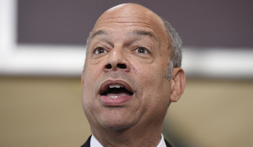 Homeland Security Secretary Jeh Johnson speaks at a news conference at Washington's Ronald Reagan National Airport on May 13, 2016. (AP Photo/Sait Serkan Gurbuz) ** FILE **