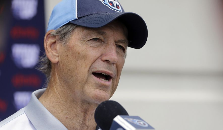 Tennessee Titans defensive coordinator Dick LeBeau answers questions following NFL football practice Thursday, May 26, 2016, in Nashville, Tenn. LeBeau now is the man fully in charge of Tennessee's defense after Ray Horton left for Cleveland. The Titans have brought in plenty of players to help him boost a unit that still needs to allow fewer points. (AP Photo/Mark Humphrey)
