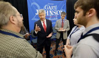 Libertarian presidential candidate Gary Johnson, center, speaks to supporters and delegates at the National Libertarian Party Convention, Friday, May 27, 2016, in Orlando, Fla. (AP Photo/John Raoux)