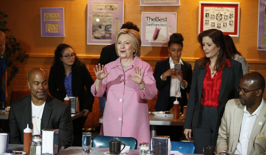 Democratic presidential candidate Hillary Clinton speaks at the Home of Chicken and Waffles, Friday, May 27, 2016, in Oakland, Calif. (AP Photo/John Locher) ** FILE **