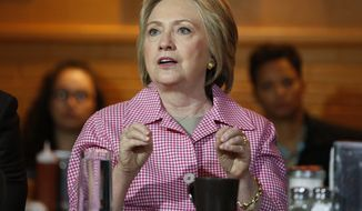 Democratic presidential candidate Hillary Clinton speaks at the Home of Chicken and Waffles, Friday, May 27, 2016, in Oakland, Calif. (AP Photo/John Locher)