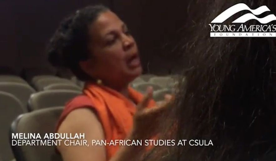 "The president of California State University, Los Angeles recently held a ""healing space"" meeting where Professor Melinda Abdullah, pictured here, claimed students felt ""traumatized"" and ""brutalized"" following an on-campus lecture by Ben Shapiro, a conservative commentator and former Breitbart News editor. (YouTube/@YAFTV)"