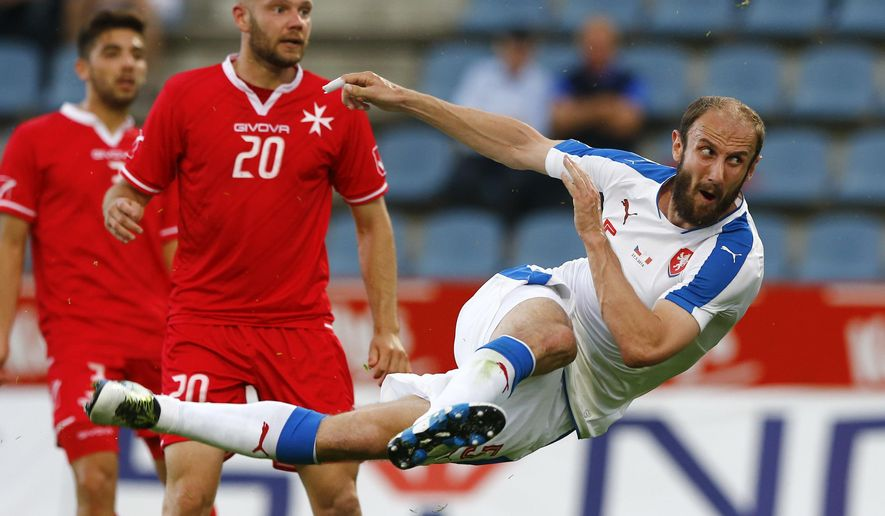 Roman Hubnik of Czech Republic scores during a friendly soccer match between Czech Republic and Malta in Kufstein, Austria, Friday, May 27, 2016. The Czech Republic National Football Team is in Austria for a training camp in preparation for the UEFA EURO 2016 soccer championships, hosted by France.(AP Photo/Matthias Schrader)