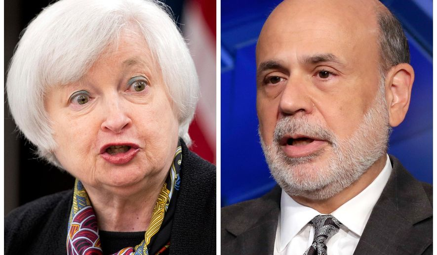 This photo combo of file images shows Fed Chair Janet Yellen, left, and former Fed Chair Ben Bernanke. Yellen is one of the featured speakers at Harvard's Radcliffe Day on Friday, May 27, 2016, in Cambridge, Mass., an event which will also feature Bernanke, a Harvard alumnus. (AP Photo/Manuel Balce Ceneta, left, Richard Drew)