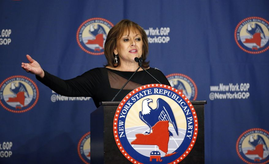 FILE - In this April 14, 2016 file photo, New Mexico Gov. Susana Martinez speaks during the New York Republican State Committee Annual Gala in New York. Republican presidential candidate Donald Trump chastised Martinez for not doing her job when it came to trends in unemployment, federal food aid and even containing the Syrian refugee crisis while he stumped at a rally in May 2016 in the nation's most Hispanic state. Martinez, who has not endorsed Trump, skipped the Albuquerque event and the public spat dampened lingering speculation that Martinez might be picked as vice president despite to attract more female and minority voters to the Republican ticket. (AP Photo/Kathy Willens, File)