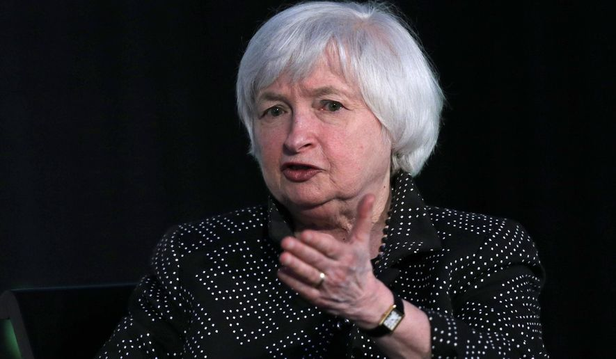 Federal Reserve Chair Janet Yellen gestures while being interviewed as part of a conversation at a Radcliffe Day event at Harvard University in Cambridge, Mass., Friday, May 27, 2016. (AP Photo/Charles Krupa)