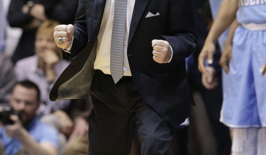 "FILE - In this March 5, 2016, file photo, North Carolina head coach Roy Williams reacts against Duke during the second half of an NCAA college basketball game in Durham, N.C. Williams had knee replacement surgery on his right knee on Friday, May 27, 2016. An athletics spokesman says in an email that Williams is ""resting comfortably."" (AP Photo/Gerry Broome, File)"