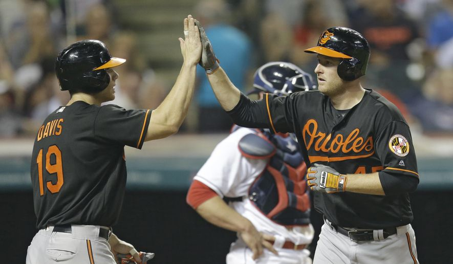 Baltimore Orioles' Mark Trumbo, right, and Chris Davis celebrate after Trumbo hit a two-run home run off Cleveland Indians relief pitcher Zach McAllister during the seventh inning of a baseball game, Friday, May 27, 2016, in Cleveland. Davis scored on the play. (AP Photo/Tony Dejak)