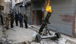 FILE - In this Sunday Feb. 15, 2015 file photo provided by the Syrian anti-government activist group Aleppo Media Center (AMC), which has been authenticated based on its contents and other AP reporting, Syrian rebels fire locally made shells against the Syrian government forces, in Aleppo, Syria.  (AP Photo/Aleppo Media Center, AMC, File)
