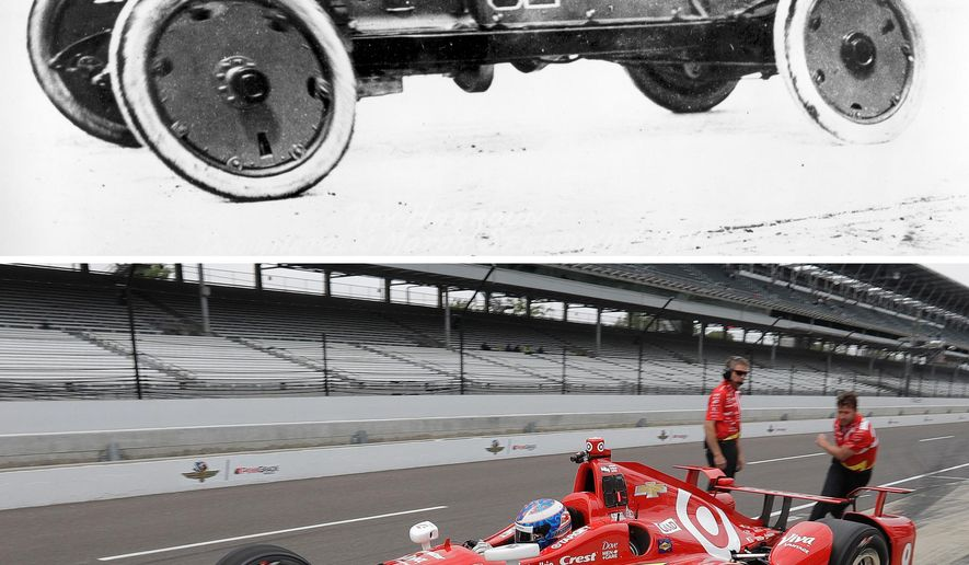 FILE - At top, in a May 30, 1911, file photo, Ray Harroun drives his No. 32 Marmon Wasp at Indianapolis Motor Speedway. At bottom, in a May 16, 2016, file photo, Scott Dixon pulls out of the pits during practice at the speedway. Harroun never could have envisioned the speed, science and styling behind the cars on the starting grid for the 100th Indy 500, not when he was piloting the Marmon Wasp to victory in the inaugural race. (AP Photo/File)