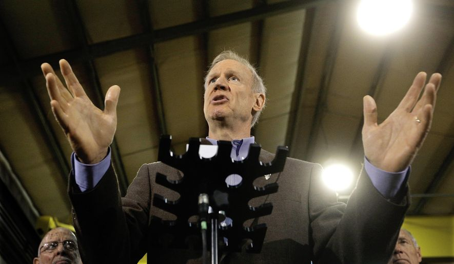 FILE - In this May 19, 2016 file photo, Illinois Gov. Bruce Rauner speaks to reporters in Springfield, Ill. The politically heightened atmosphere of Springfield this year is a major reason Illinois doesn't have a state budget nearly 11 months into the fiscal year. It's also why there likely won't be a deal for next year before lawmakers adjourn their spring session on Tuesday, May 31, 2016. Both sides are acting with a constant eye on the November election, and whether Republicans can deflate House Speaker Michael Madigan's Democratic ranks.(AP Photo/Seth Perlman, File)