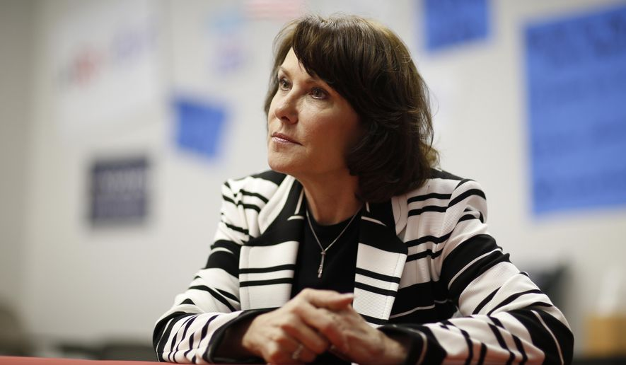 In this April 27, 2016, photo, Jacky Rosen, Democratic candidate for Nevada's third congressional district, speaks with the Associated Press in Las Vegas. Political newcomers are trying to turn the Republican-held southern Nevada swing congressional district back to Democratic hands. (AP Photo/John Locher)