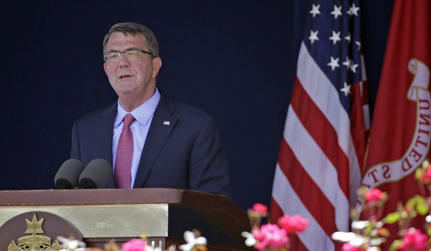 In this Friday, May 27, 2016, file photo, U.S. Defense Secretary Ashton Carter delivers remarks during the U.S. Naval Academy's graduation and commissioning ceremony in Annapolis, Md. (AP Photo/Patrick Semansky, File)