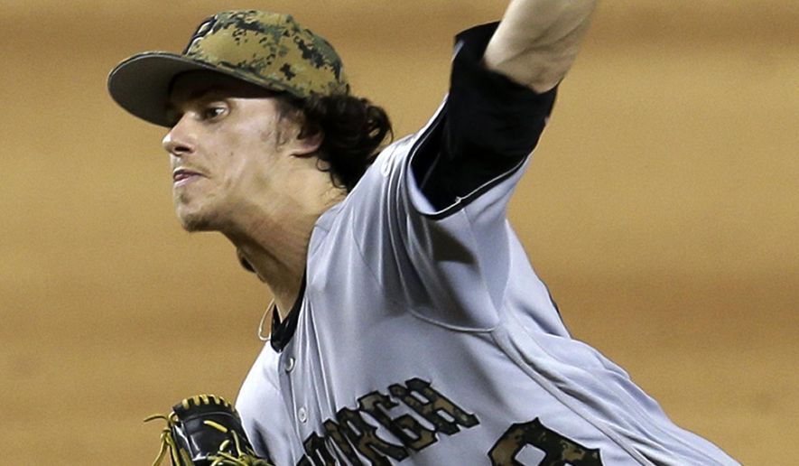 Pittsburgh Pirates' Jeff Locke pitches against the Miami Marlins during the ninth inning of a baseball game, Monday, May 30, 2016, in Miami. The Pirates won 10-0. (AP Photo/Alan Diaz)