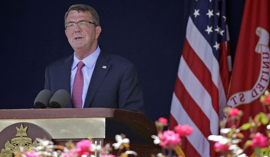 "FILE - In this Friday, May 27, 2016 file photo, U.S. Defense Secretary Ashton Carter delivers remarks during the U.S. Naval Academy's graduation and commissioning ceremony in Annapolis, Md. China on Monday, May 30, lashed out at criticism from Carter, accusing him of harboring a Cold War mentality and saying Beijing has no interest in ""playing a role in a Hollywood movie"" of Washington's design. (AP Photo/Patrick Semansky, File)"
